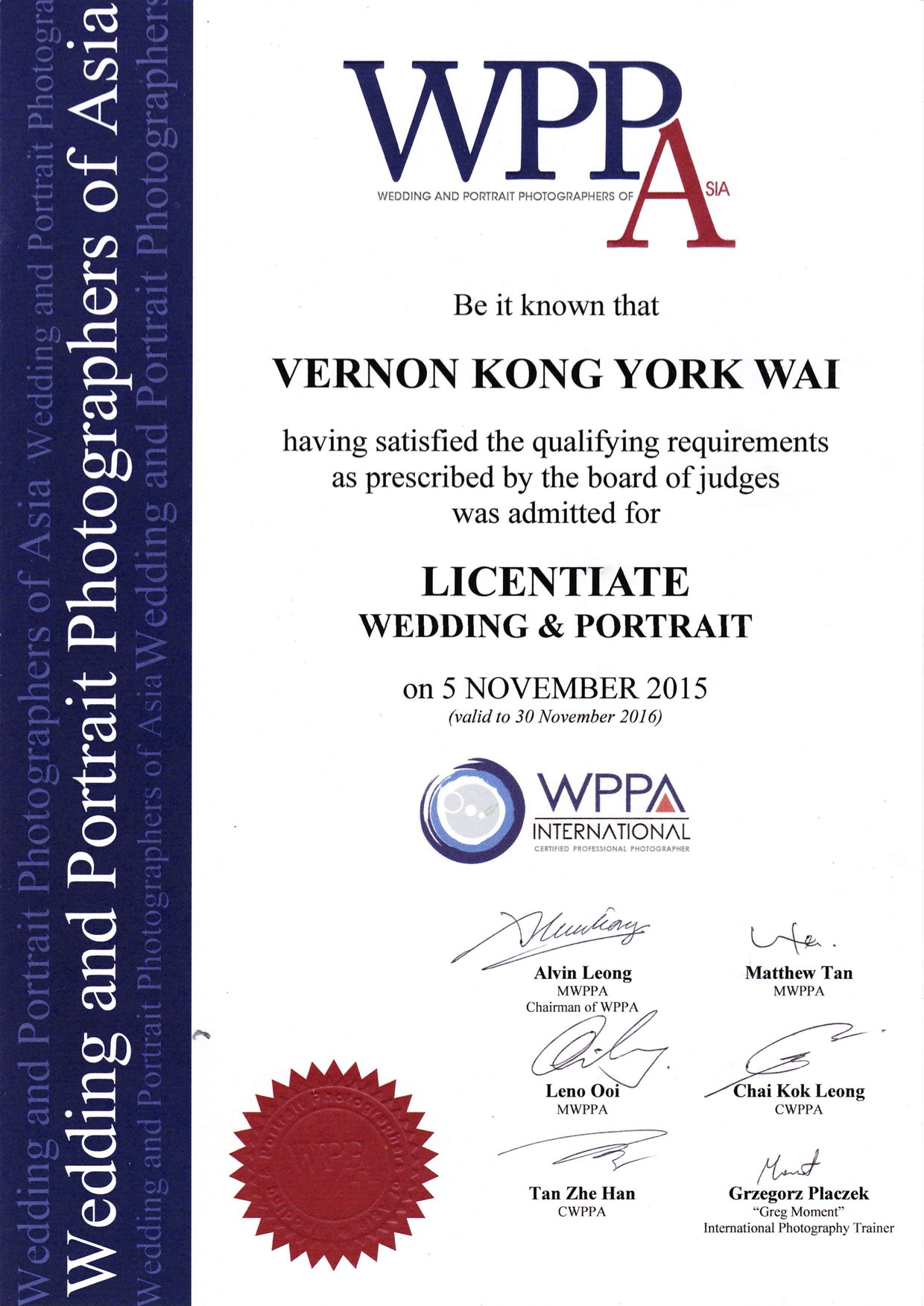 Asia wedding photographer momentowedding wppa award certificate 1betcityfo Gallery